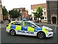 TG2208 : Police car and barriers blocking access to St Peter's Street by Evelyn Simak