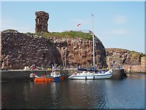 NT6779 : A Dutch Yacht in Victoria Harbour beside Dunbar Castle by Jennifer Petrie