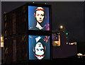 J3575 : The Riverbox artwork (night view), Titanic Quarter, Belfast (September 2019) by Albert Bridge