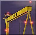 "J3575 : ""Goliath"" (night view), Belfast (September 2019) by Albert Bridge"