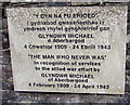 SO1500 : Welsh/English plaque for The Man Who Never Was, Aberbargoed War Memorial by Jaggery