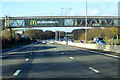 SP7257 : Footbridge over the M1 at Northampton Services by David Dixon