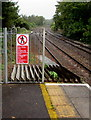 SS9768 : Warning notice at the NW end of platform 2, Llantwit Major station by Jaggery