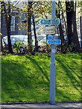 NS3074 : Coastal path signs at Bogstom by Thomas Nugent