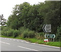 SO1073 : Direction signs alongside the A483, Llanbister by Jaggery