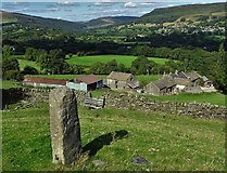 SK2081 : Garner House Farm and an old stone gatepost by Neil Theasby