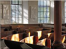 NZ2564 : All Saints Church, Pilgrim Street - curved pews (2) by Mike Quinn