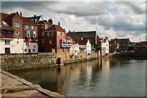 """NZ8911 : Whitby : view of harbour featuring """"The Board Inn"""" by Julian Osley"""