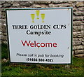 SS8873 : Three Golden Cups Campsite Welcome notice, Southerndown by Jaggery