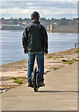 NU0152 : An electric unicycle at Berwick Pier by Walter Baxter