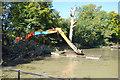 TQ0648 : Dredging Sherbourne Pond by Des Blenkinsopp