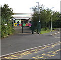 SN4324 : Colourful Welsh welcome on the village school gates, Peniel, Carmarthenshire by Jaggery