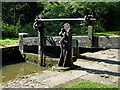 SJ9689 : Marple Locks No 3 top gate, east of Stockport by Roger  Kidd