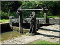 SJ9689 : Marple Locks No 3 top gate, east of Stockport by Roger  Kidd