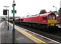 ST1586 : Class 66 diesel locomotive passing through Caerphilly station by Jaggery