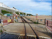 TQ3203 : Level crossing at Banjo Groyne, Volks Electric Railway, Brighton by Ruth Sharville
