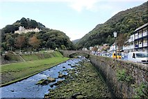 SS7249 : Lynmouth: the East Lyn River from the footbridge by Martin Tester