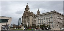 SJ3390 : Cunard and Royal Liver Buildings, Liverpool by Christine Matthews