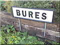 TL9033 : Old Station sign at Bures Railway Station by Adrian Cable
