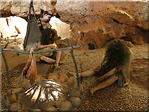SX9364 : Cave dwellers reconstructed, Kents Cavern by Stephen Craven