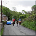 SN7811 : Horses and riders in Cwmgiedd, Powys by Jaggery
