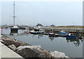 SH9980 : Moored boats on the River Clwyd at Rhyl by Mat Fascione