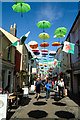 SH4762 : Umbrellas in Palace Street, Caernarfon by Jeff Buck