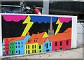 TG2208 : Mural by a building site on Haymarket by Evelyn Simak