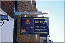 TQ9220 : Fletchers House (2) - sign, 4 Lion Street, Rye, East Sussex by P L Chadwick