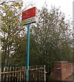 ST1580 : Whitchurch railway station name sign, Northern Avenue, Cardiff by Jaggery