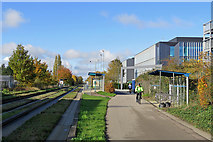 TL4661 : Cambridge Science Park guided busway stop by John Sutton
