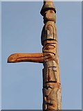 NY7976 : One of the new totem poles (detail) by Oliver Dixon