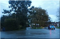 TF4302 : Station Road at the junction of the B1101, Coldham by David Howard