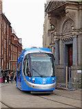 SP0686 : Tram leaving Pinfold Street in Birmingham by Roger  Kidd