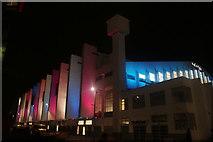 TQ1985 : View of the SSE Wembley Arena illuminated at night by Robert Lamb