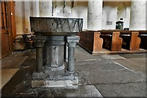TQ1711 : Steyning, St. Andrew and St. Cuthman Church: c12th font bowl on Victorian base 3 by Michael Garlick