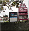 ST1580 : Travelodge and Toby Carvery name signs, Whitchurch, Cardiff by Jaggery