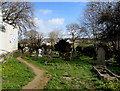 SM8906 : Path in St David's churchyard, Hubberston by Jaggery