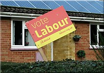 """TG3204 : General election """"Vote Labour"""" poster on The Street by Evelyn Simak"""