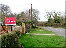 """TG3204 : General election """"Vote Labour"""" poster on Lower Road by Evelyn Simak"""