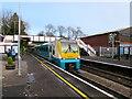 SO4593 : Holyhead train in Church Stretton station by Jaggery