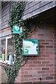 SK8821 : Defibrillator at the village hall by Bob Harvey