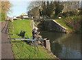 ST7564 : Fisherman by Pulteney Gardens Lock by Derek Harper