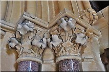 TQ1450 : Ranmore Common, St. Barnabas Church: South door right capital by Michael Garlick