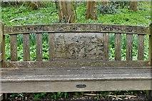 TQ1450 : Ranmore Common: Josephine and David Johnson memorial seat (inscription) by Michael Garlick