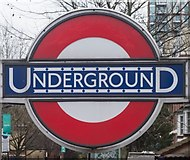 TQ3287 : Manor House : London Underground roundel by Julian Osley