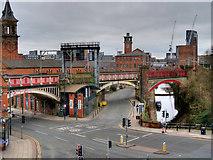 SJ8397 : Viaduct Crossing Deansgate by David Dixon