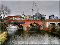 SJ8297 : Construction Work near the Irwell by David Dixon