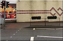 SO6302 : Flower tubs on High Street railings, Lydney by Jaggery
