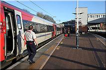 NT9953 : A train at Berwick Railway Station by Walter Baxter
